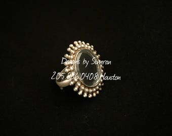 SURAJ - A Pure Silver Finger Ring in Antique Finish Adjustable