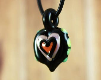 Heart Necklace, Heart Pendant Necklace, Heady Glass Pendant, Mother's Day Necklace, Love Necklace, Heart Jewelry, Gifts for her, Glass Heart