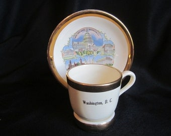 Washington DC Souvenir Plate and Cup with Matching Holder SABIN Crest-O-Gold 22k