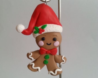 Handcrafted Gingerbread Man Christmas Ornament - Polymer Clay Ornament - Christmas Gift
