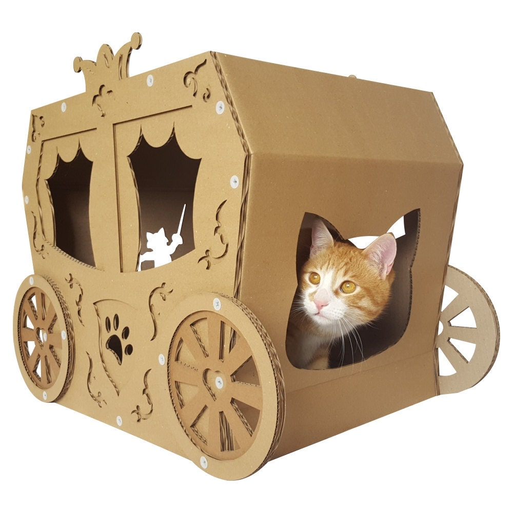 Cardboard House For Cats Carriage Cardboard Cat Housecat Furniturecat Bedcat