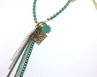 Gold and turquoise long tassel necklace