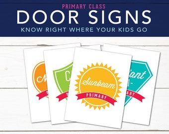 White Background Primary Door Signs, LDS 2017 Primary Theme, Choose the Right, Class Room Signs, Printables