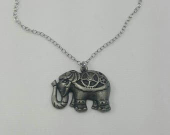 Elephant Necklace, Steampunk Elephant Necklace, Elephant Jewelry, Steampunk Animals