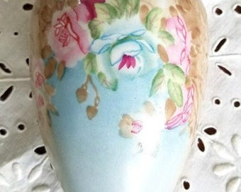 Pink Roses Wall Pocket – Vintage - Beautifully Hand-Painted -  with Pastels