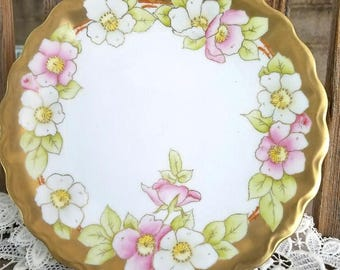 Hand-Painted Bavarian Plate – Pink and White with Gold Embellishment – c. 1910