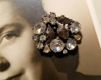 Rhinestone and Silver-Tone c. 1940 Clip-On Earrings