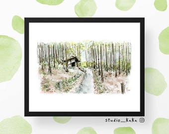 Forest Temple Trail (Japan Series) == Fine Art Print of Original Watercolour Sketch Painting