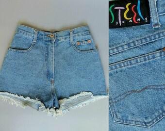 all summer / 1980s high waisted cutoff jean shorts / 2 4 xs xxs