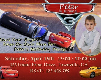 Cars 2017 Birthday Invitation with photo, Cars 3 Party Invitation,