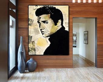 Elvis PRESLEY Painting on Canvas Pop Art Large Paintings on Canvas Art Original Acrylic Painting, Ready To Hang, Wall Art, Modern Fine Art