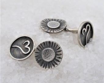 Cufflinks in oxidized silver, flower and heart