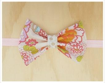 Bow headband - Cream headband - pink floral headband - oriental headband - embellished headband