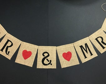 Mr and Mrs burlap banner, Mr and Mrs banner, Wedding burlap banner, Wedding banners and signs, Wedding banner, Reception decor