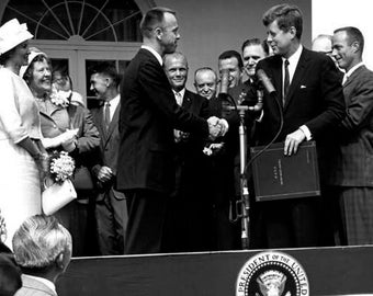 President John F. Kennedy and Alan Shepard in Washington D.C. Photo Print Black and White