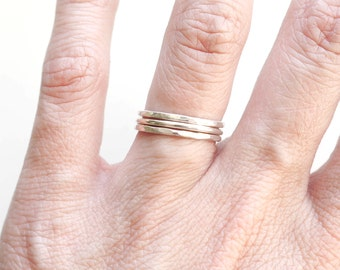 Sterling Silver Stacking Rings | Stacking Rings | Hammered Rings
