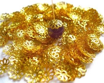 9mm Gold Filigree Bead Caps - Floral Bead Caps - 9mm Filigree Gold Bead Caps (100)