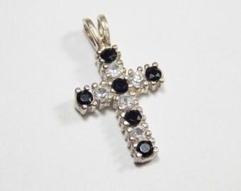 Sterling Cross Pendant, Cubic Zirconia Cross, Vintage Cross Pendant, Sterling Silver Black White Cubic Zirconia Cross Pendant #338