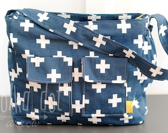 Navy Cross Diaper Bag, Large Zipper Tote Bag, School Bag