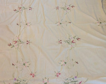 Vintage Hand Embroidered Floral Large Tablecloth