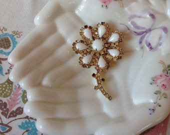 Vintage White Milkglass and Rhinestone Flower Brooch