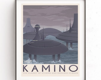 Kamino planet. Star wars retro travel. Boba Fett art. Jango fett illustration. Clone wars. Aquatic planet storm. Bounty hunter. Obi wan