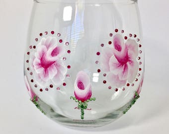 Stemless Red Wine Glass with Fuchsia and White Roses