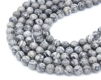 Gray Picture Jasper Beads 6mm 8mm 10mm Gray Map Jasper Beads Scenery Jasper Beads Natural Gray Beads Gray Mala Beads Gray Gemstones Beads