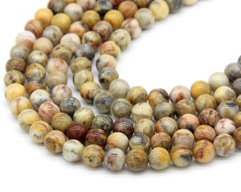 Yellow Crazy Lace Agate Beads 6mm 8mm 10mm 12mm Yellow Gemstone Beads Yellow Striped Agate Beads Yellow Mala Beads Yellow Agate Beads