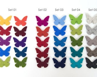 quadu 10 butterflies made of wool felt in many colors