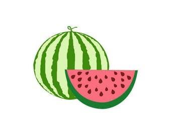 Watermelon Clip Art Set, Fresh, Juicy, Summer, Kid, Vegetarian, Slice, Child, Illustration, PNG