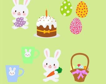 Easter Clip Art Set, Bunny, Easter Eggs, Illustration, Celebration, Basket of Eggs, PNG