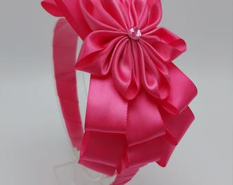 Pink fabric flower headband