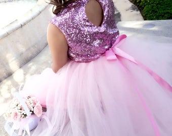 Pink tutu dress, dress, pink dress, tutu dress, pink, wedding, flower girl, pink sequence, long dress, formal dress