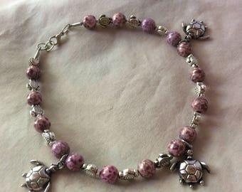 Silver sea turtle anklet, purple sea turtle anklet, purple luster anklet, silver dangle anklet