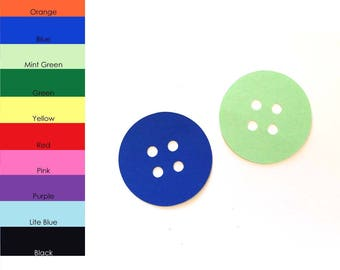 25 pack - Paper Button Shape, Paper Button Cut Out, Button Die Cut, Party Supplies, Scrapbook Supplies