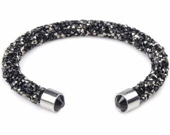 CLOSEOUT SALE - Glitterdust Cuff Bangle Bracelets - Silver, Amber, Black, Gray, Multicolor