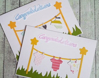 New baby washing line card / baby grow card / baby boy card / baby girl card / Congratulations on birth of your baby /