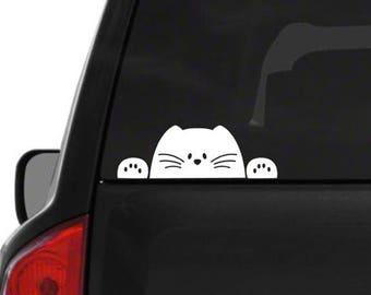 Peek-a-boo cat decal