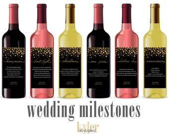 PRINTABLE Custom Gold Wedding Milestone Wine Labels ~ Unique Wedding Gift and Bridal Shower Gift