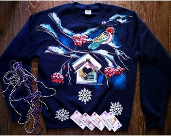 Hand Painted Sweatshirt - Bird Painting - Vintage Clothing - Present For Her - Housewarming Gift - Animal Lover Shirt