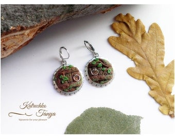 Fairy Door Earrings, Fairy Door Jewelery, Round Door Polymer Clay Earrings. Jewelry stores