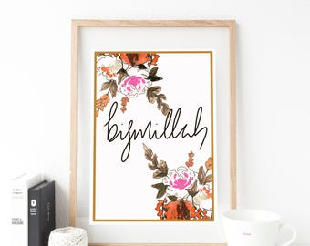 """A4 Islamic """"Bismillah"""" Quote motivational wall art typography print"""