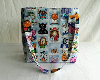 Tote, Library Bag, Messenger Bag, Dog, Cat, Shopping Bag, Reusable Bag, Blue, Market Bag
