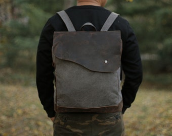 Canvas Backpack/ Leather backpack/ Waxed canvas backpack/Canvas rucksack/ Laptop backpack/ Mens backpack/ Canvas bag