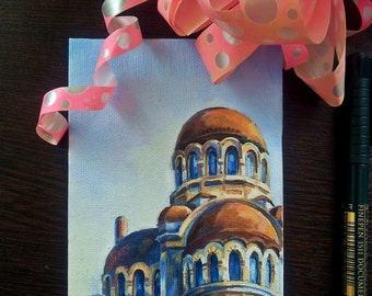 Exclusive oil art postcard, Gift card for her,Greeting card, Architecture oil postcard