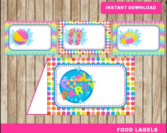 Pool Party food labels; printable Pool Party tent cards, Pool Party Printable food tent cards instant download