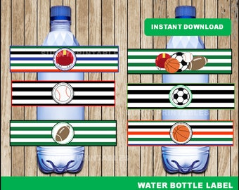 Sports water bottle labels; printable sports Botle labels, sports party water bottle instant download