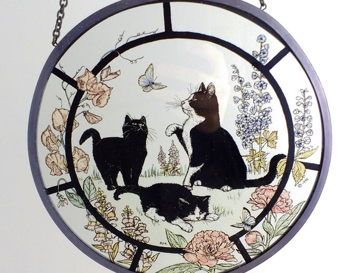 Vintage suncatcher cats playing in a summer garden, round stained glass window pane, art glass 1990