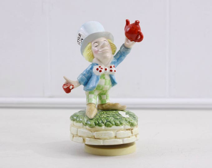 Vintage Mad Hatter music box by Schmid No. 371 JAPAN, Collectible porcelain Alice in Wonderland figurine, Tea for Two, rare collectible